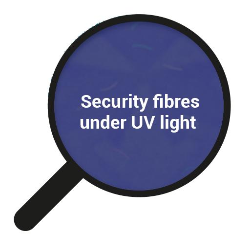 Security fibres under UV light