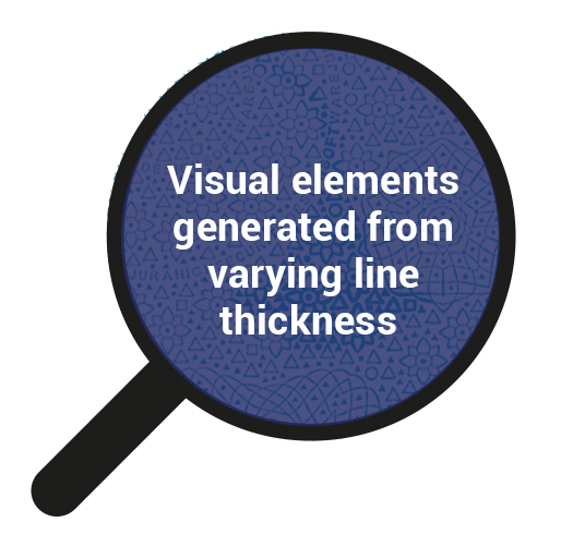 Visual elements generated from varying line thickness