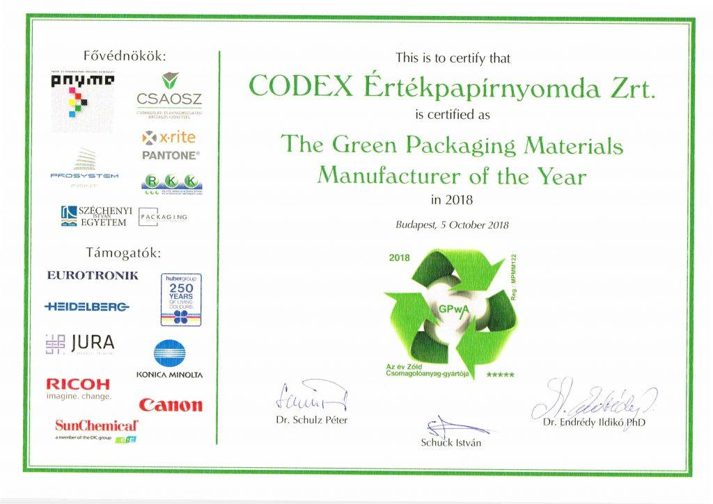 The Green Packaging Materials Manufacturer of the Year