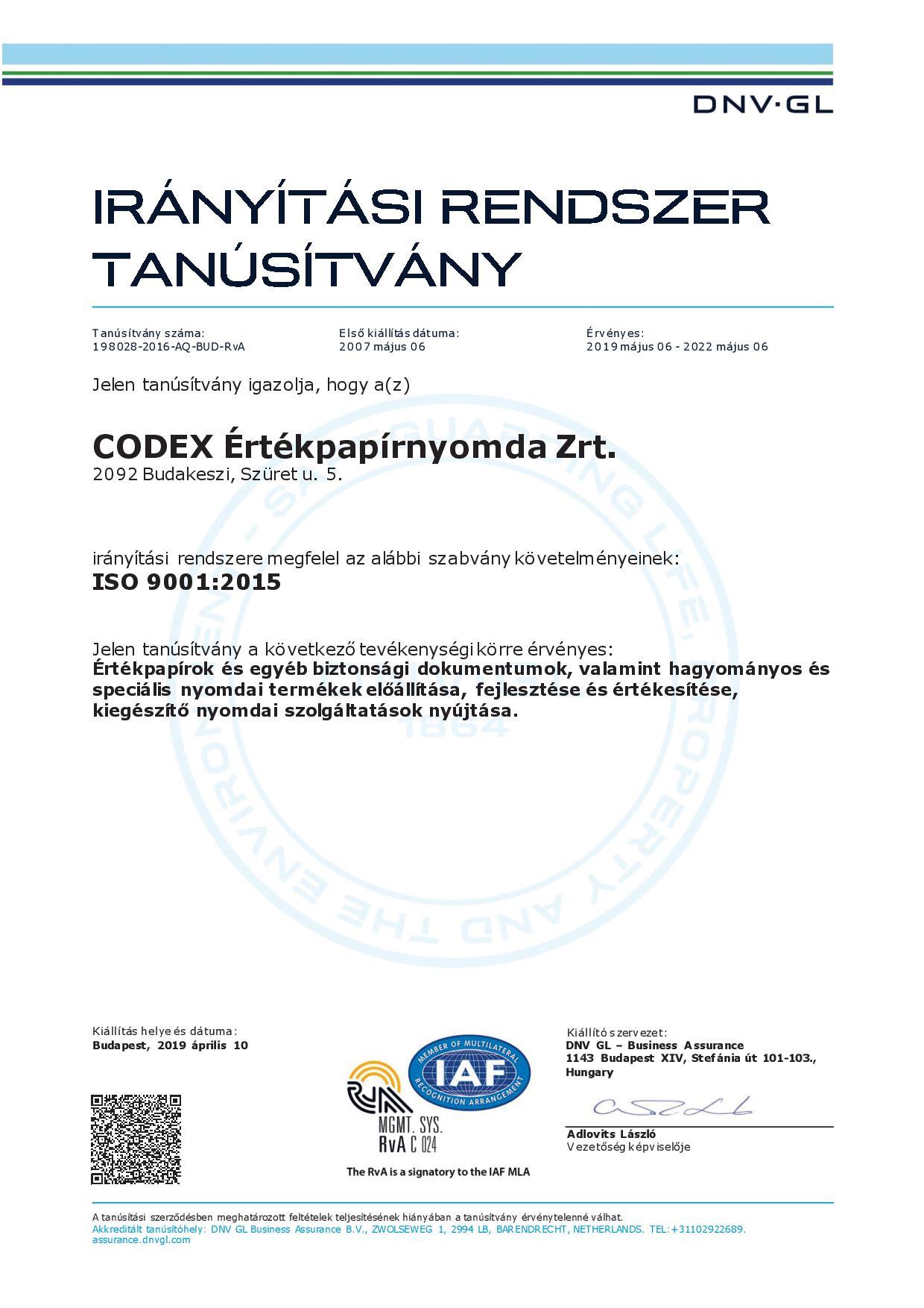 DNV GL certificate 9001