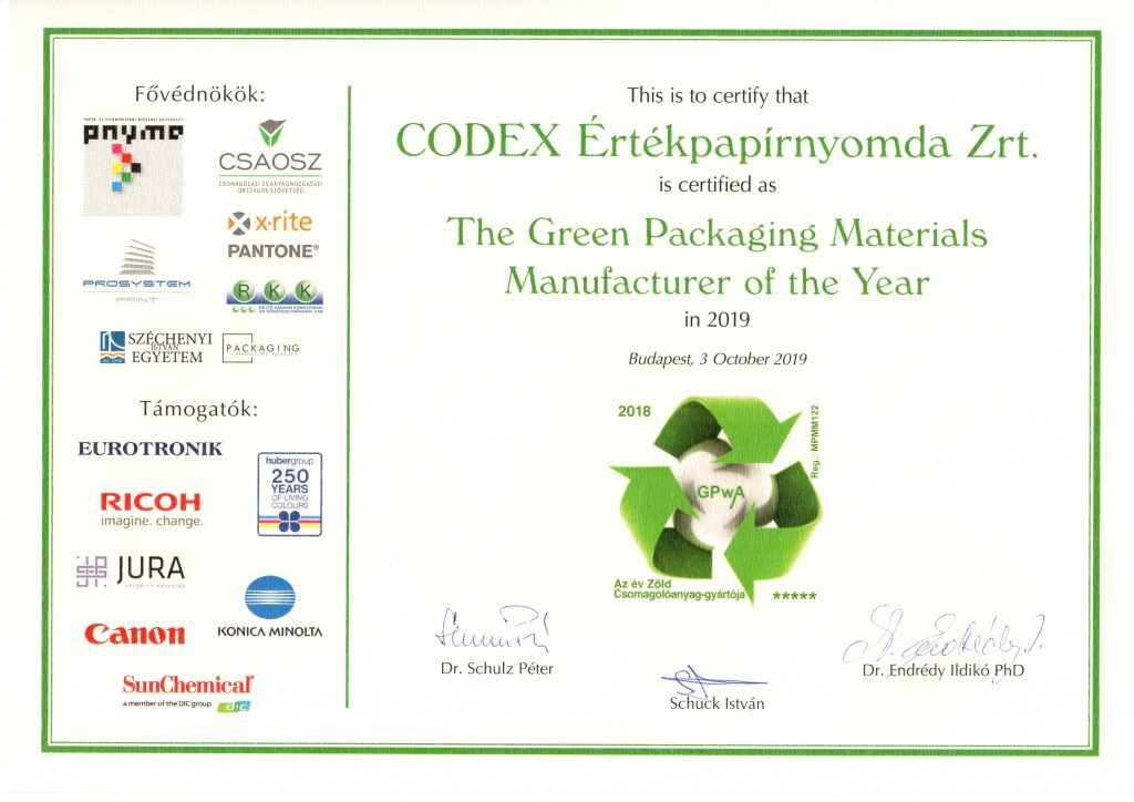 The Green Packaging Materials Manufacturer of the Year 2019