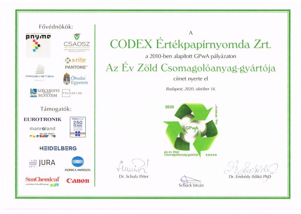A CODEX Értékpapírnyomda Zrt 2020-ben is elnyerte Az Év Zöld Csomagolóanyag-gyártója címet.